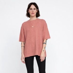 Zara Mauve Textured Weave Top Large NWT